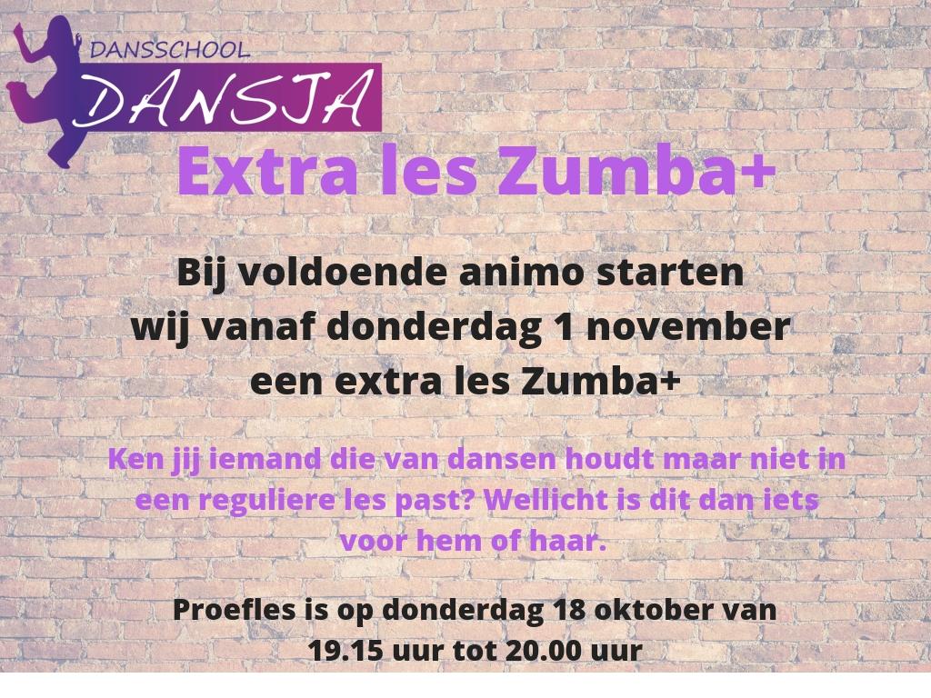 Proefles Zumba+ op 18 oktober 2018