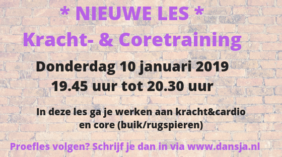 *Nieuwe les* Kracht- en Coretraining