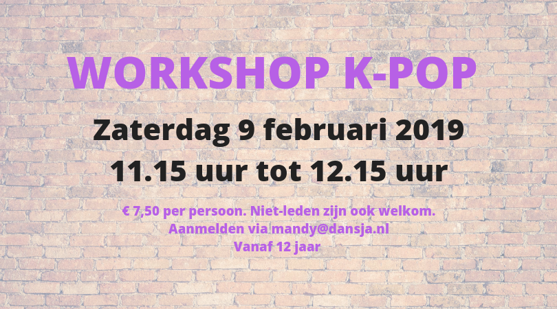 Workshop K-pop voor 12+