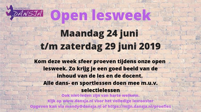 Open lesweek van 24 juni t/m 29 juni
