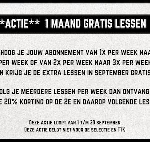 **Actie** 1 maand gratis lessen