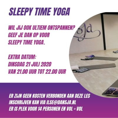 Sleepy Time Yoga op 21 juli – EXTRA LES