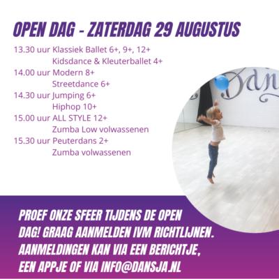 Open dag – Zaterdag 29 augustus